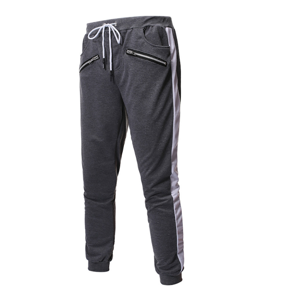 2019 Men\`s zipper solid color jogging pants casual pocket sports cargo pants outdoor sports harem pants men Quick drying 40J6 (9)