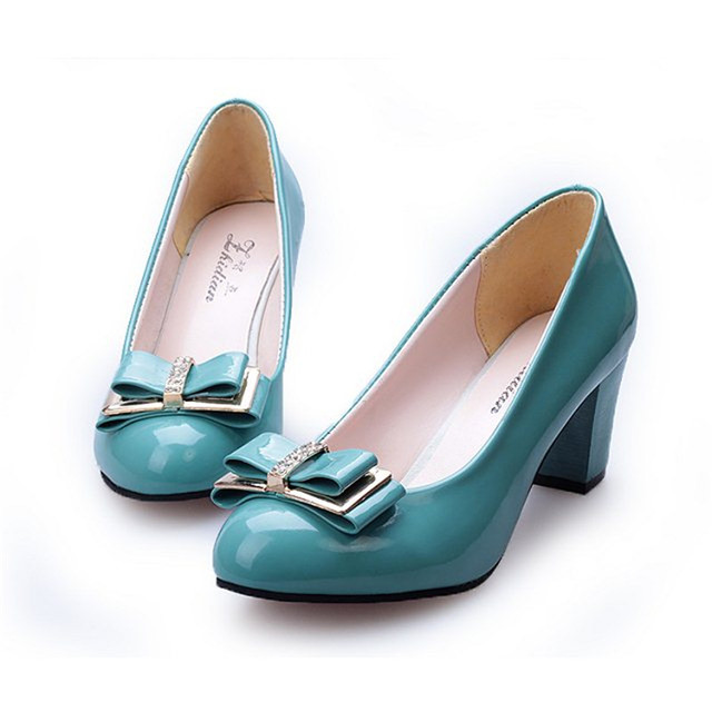 Free shipping 2015 spring and autumn bow low low-heeled shoes thick heel casual female leather