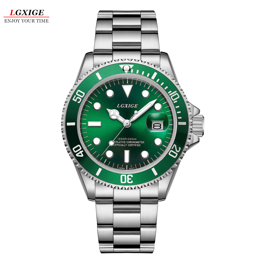 Full Steel Waterproof Diver Watch Men Quartz Movment Mens Watches Top Brand Luxury Wristwatch Green Male Clock relogio masculino