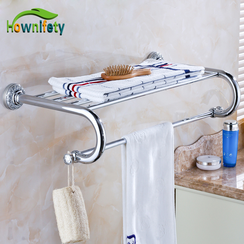 Contemporary   White Color Bathroom Stainless Steel Towel Rack Wall Mount Golden Base Towel Bar 304 stainless steel bathroom towel rack bar hangers more