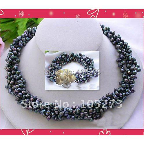 4Rows AA 6-7MM Black Rice Freshwater Cultured Pearl Necklace Bracelet Shell Flower Clasp Fashion Jewelry Free Shipping FN2158A цена и фото