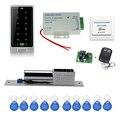 Completo sistema de controle de acesso rfid porta C10 teclado de toque eletrônico + parafuso lock + alimentação + chave + fobs botão sair + controle remoto
