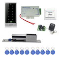 Full rfid door access control system C10 touch keypad+electronic bolt lock +power supply+key fobs+exit button+remote control