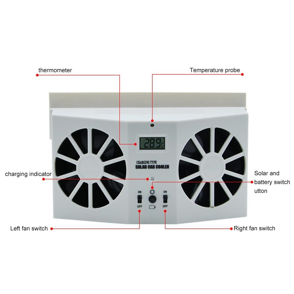 solar powered charge exhaust fan car window air vent exhaust fan auto air vent cool cooling the battery charge radiator fan