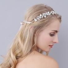 Diademas de novia Mujeres Accesorios Para El Cabello de Plata Cristalino de La Perla Hairband Flores Para El Vestido De Boda de Accesorios O0941