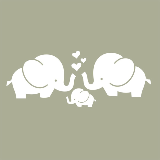 Cute Elephant Hearts Family Wall Decals Baby Nursery Decor Kids Room Stickers Indoor