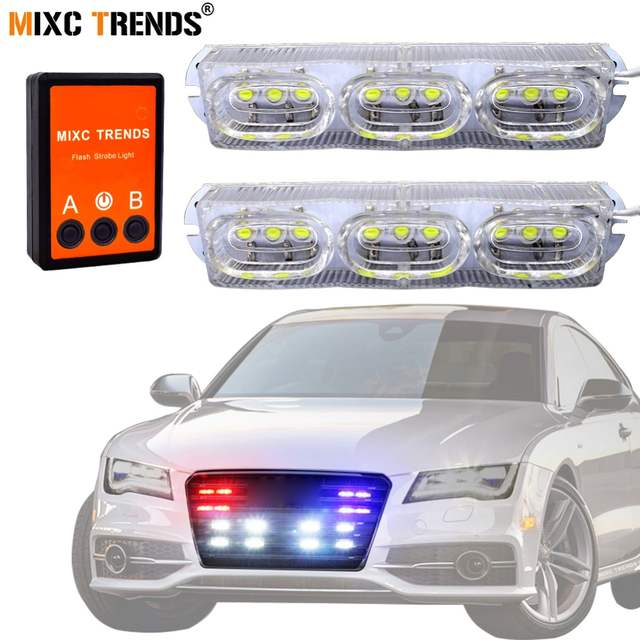 Us 13 84 43 Off 2x9leds Emergency Hazard Warning Led Strobe Beacon Lights Bar For Snow Plow Police Firefighters Trucks Vehicles Drl Daylights In