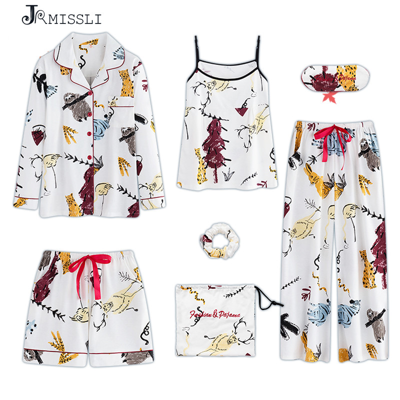 JRMISSLI Pajamas Sets Women Pajamas 7 Piece Sets Nightgown Cotton Sleepwear For Cartoon Pajamas Set Pajamas Lingerie