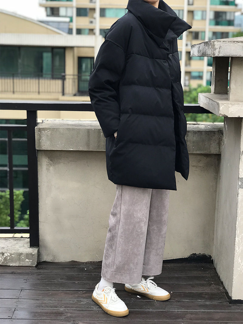 Coton Parkas Bas Le Vêtements Coréenne Black gray Roulé Col Vers rembourré D'hiver apricot blue Outwear Lâche Manteau Long Coton Épaississement Mooirue Noir Cw5xanqPA