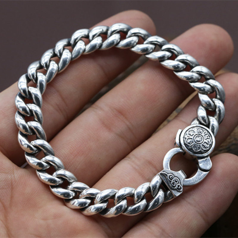 Solid Sterling Silver 925 Link Chain Bracelet Women Simple Design 925 Sterling Silver Jewelry 31.2g Gothic Personality Bijoux цены