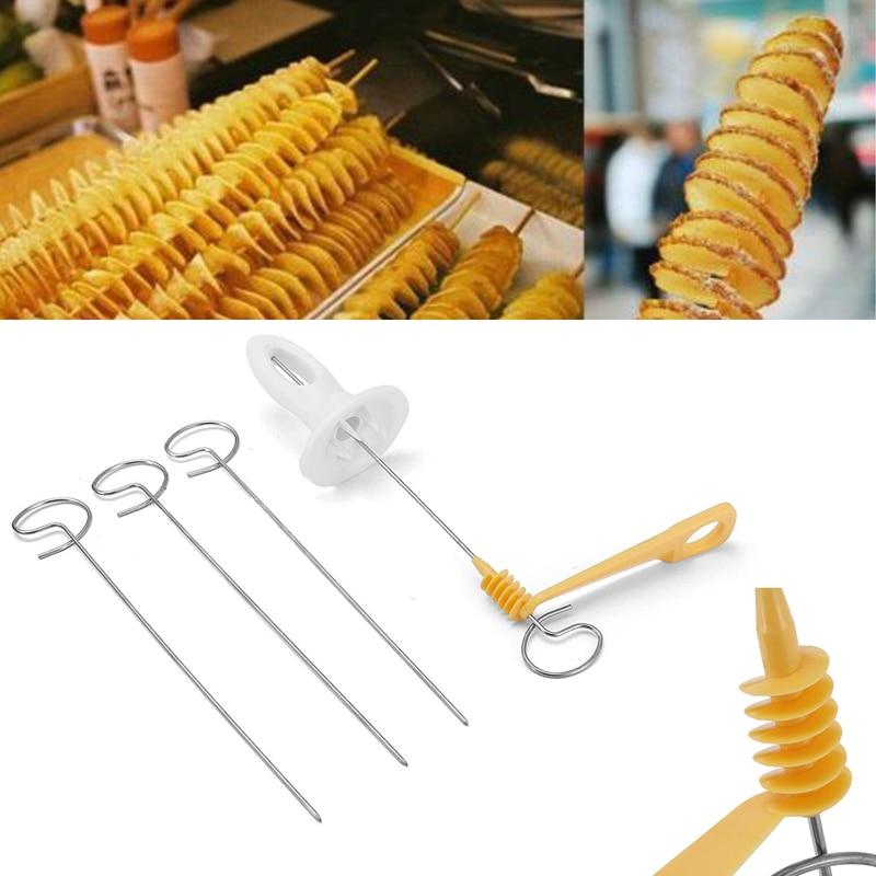 JX-LCLYL New Potato Spiral Cutter Slicer Twister Tornado 4 Spits Chips Hand Shredder Tool