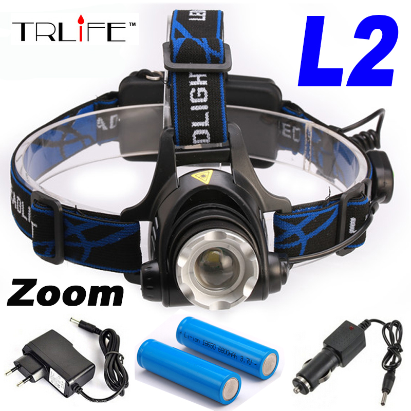 5000 Lumens Headlamp CREE XM-L2 LED Headlamp Headlight Flashlight Head Lamp Light +2*18650 Battery+ AC/Car  Charger litwod z302309 usb 9 cree led led headlamp headlight head flashlight torch cree xm l t6 head lamp rechargeable for 18650 battery
