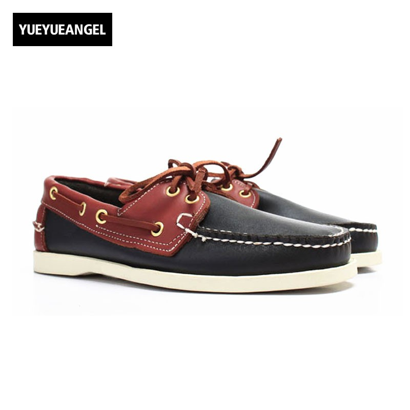 British Classic Boat Shoes Men Lace Up Casual Flats 2018 New Genuine Leather Male Driving Shoes Breathable Large Size Moccasin men leather boat shoes vintage lace up casual driving shoes man fashion flats chaussure homme large size 46 loafers zapatillas