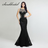 Sexy Black Lace Evening Gowns Long Mermaid Beaded Crystals Sheer Back Real Photos Floor Length Prom