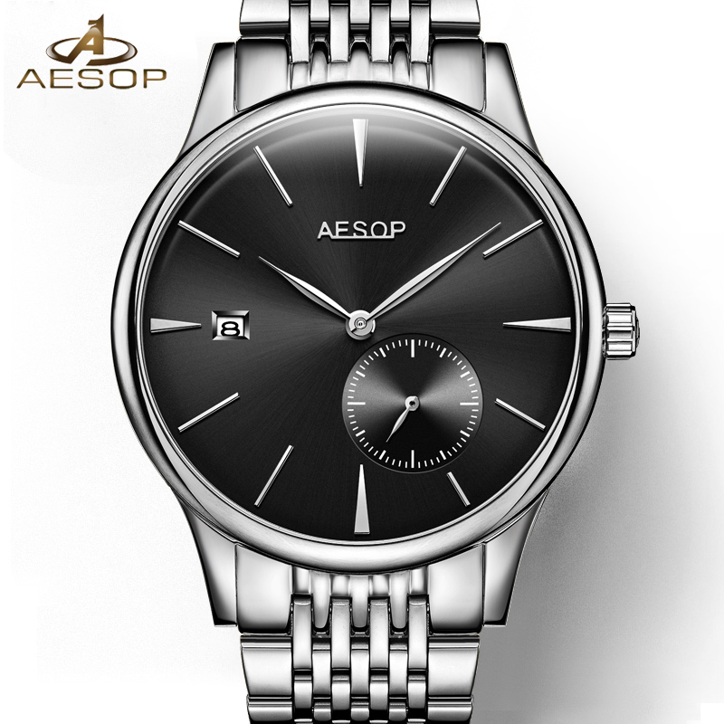 AESOP Simple Watch Men Automatic Mechanical Wristwatch Ultra Thin Steel Band Waterproof Male Clock Relogio Masculino Hodinky 46 ultra thin watch male student korean version of the simple fashion trend fashion watch waterproof leather watch men s watch quar