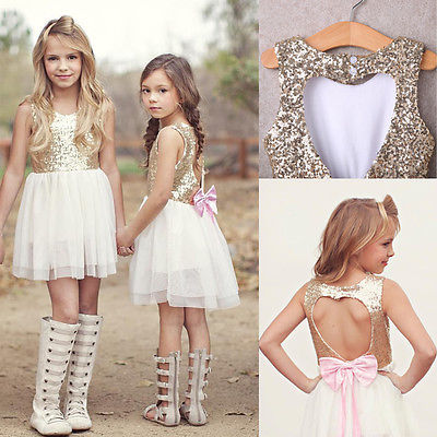 Girls Sequins Dress, Baby Girl Flower Dresses Bow Backless Party Gown Dress Children's Summer Clothes 3-10Y