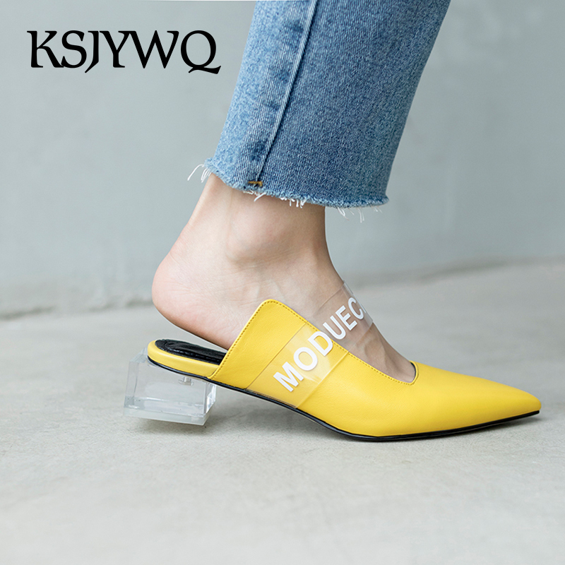 KSJYWQ Yellow Genuine Leather Women Mules 4 CM Transparent Chunky Heels Pointed-toe Summer Slippers Woman Pumps Box packing S668 ksjywq plus size women red pumps slip on summer dress shoes 10 cm high heels sexy pointed toe woman stilettos box packing 1259 1
