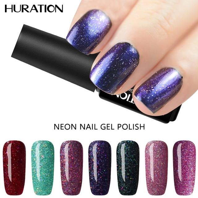Huration Bling Neon Color Gel Uv Led Gorgeous Shimmer Nail Varnish Top And Base Coat Need
