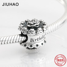 35c21a796 Happy 925 Sterling Silver fashion Rose cake beads for birthday Fit Original  Pandora Charm Bracelet Jewelry making 2018