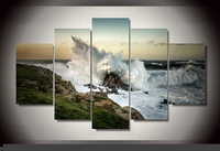 Art Abstract Indoor Decor 20x35cmx2,20x45cmx2,20x55cm R2 Beach scenery waves print canvas in 5 pieces