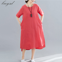 BUYSD 2019 Latest women summer cotton linen dress a line o neck solid pockets casual Chinese style Mid Calf summer female dress