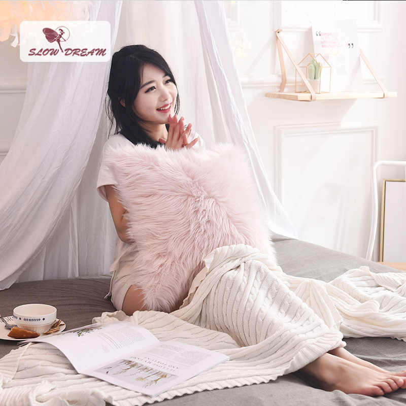 SlowDream Nordic Style Pink Plush Cushion Cover Soft Fur Pillow Cover Decorative Pillow Case Sofa Seat Car Pillowcase