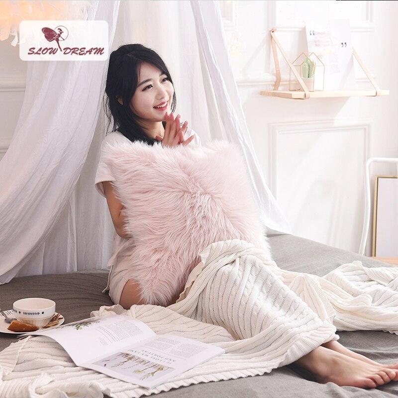Housse de coussin en peluche rose de Style nordique slow dream housse de coussin en fourrure douce taie d'oreiller décorative canapé siège de voiture taie d'oreiller