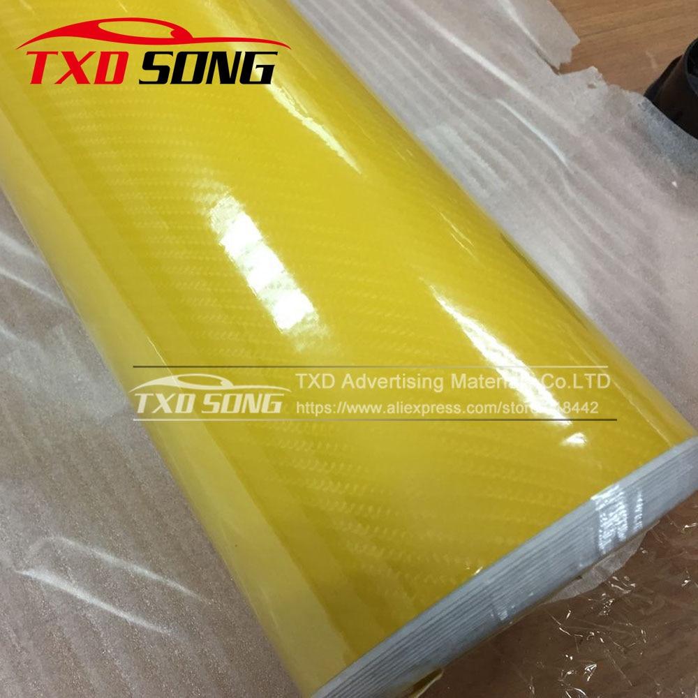 Высокое качество ультра-синий глянец 5D углеволоконная виниловая Обёрточная бумага 4D текстура супер глянцевая 5D углерода Обёрточная бумага s с 10/20 Вт, 30 Вт/40/50/60X152 см - Название цвета: yellow