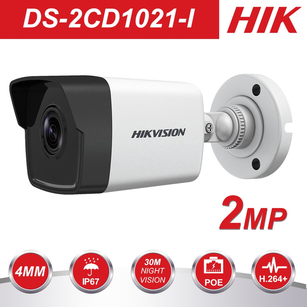 HIK 1080P Security Camera Outdoor DS-2CD1021-I 2MP CMOS Bullet CCTV IP Camera with Day&Night Version IP67 No SD Card SlotHIK 1080P Security Camera Outdoor DS-2CD1021-I 2MP CMOS Bullet CCTV IP Camera with Day&Night Version IP67 No SD Card Slot