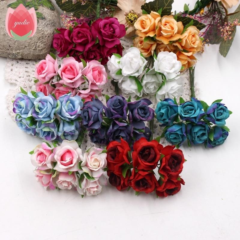6 unids 3 cm hecho a mano se levantó flores artificiales para el banquete de bod