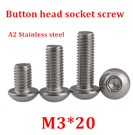 100pcs/lot M3*20 Bolt A2-70 ISO7380 Button Head Socket Screw/Bolt SUS304 Stainless Steel <font><b>M3X20mm</b></font> image