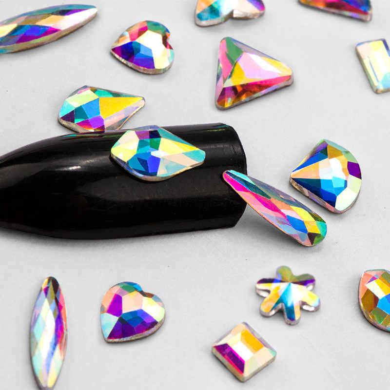 20 Pcs Datar Kembali Marquise Bumi Aspek Jelas AB Akrilik Triangle Kuda Mata Berlian Imitasi Bentuk Seni Kuku Berlian DIY dekorasi