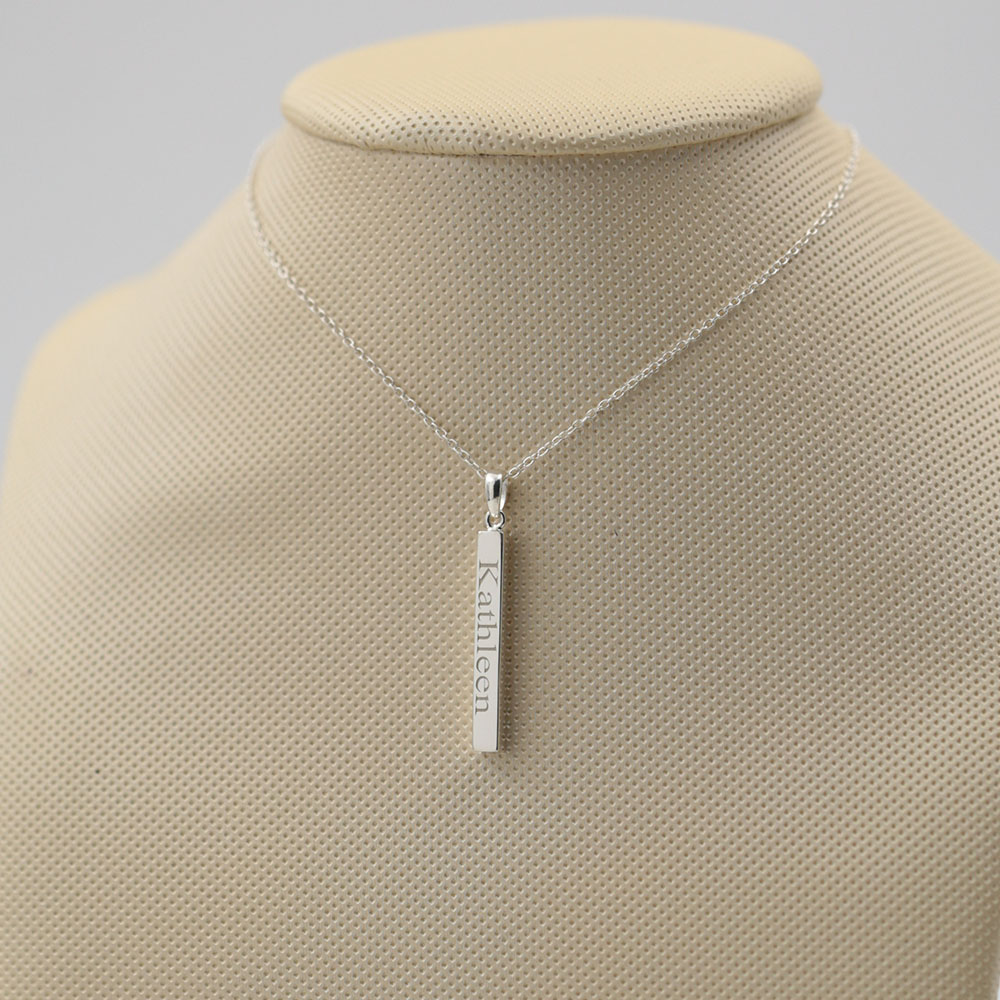 925 argent barre verticale gravée 4 côtés plaque nominative personnalisée 3D Bar pendentif personnalisé solide bijoux pour hommes femmes