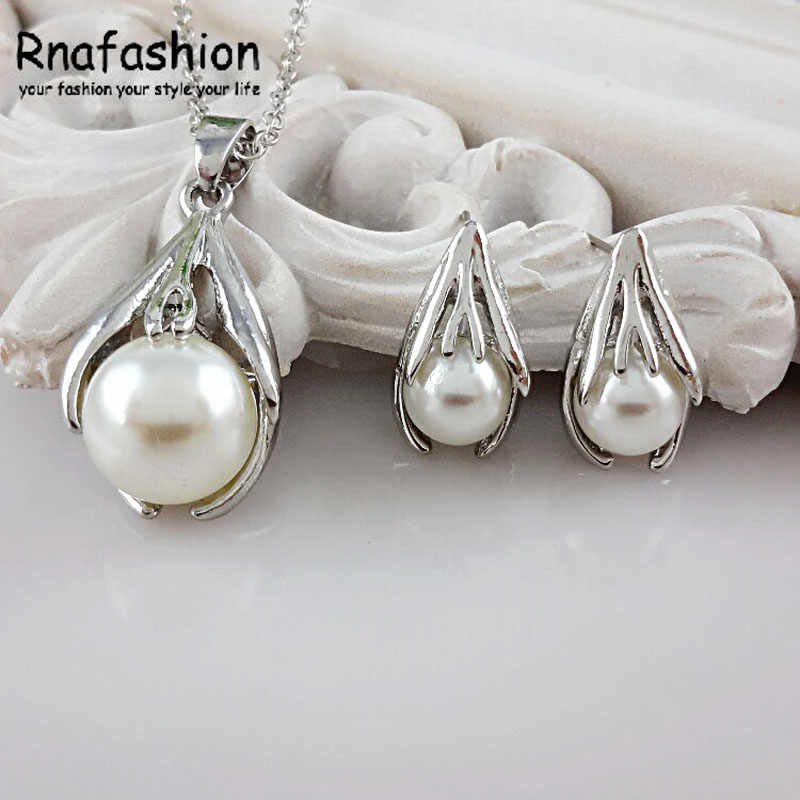 Accessories Jewellery Fashion Simulated Pearl Jewelry Sets For Women Crystal Earrings Necklace Set Wedding