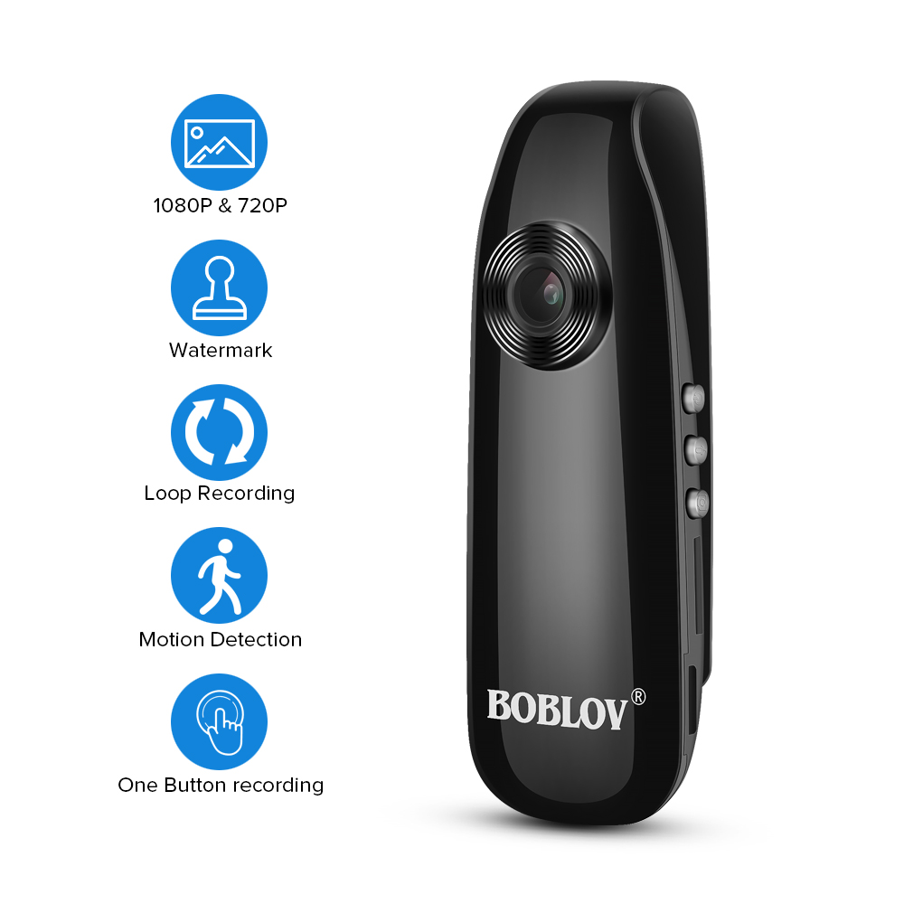 BOBLOV Mini Camera 1080P Full HD Police Camera Digital Video Recorder Dash Body Cam Bike H