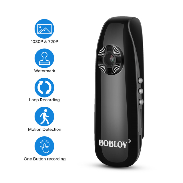 BOBLOV Mini Camera 1080P Full HD  Police Camera Digital Video Recorder Dash Body Cam Bike H.264 Camcorder Wide Angle