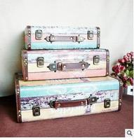Три комплекта фабрики цвет кожи чемодан деревянный случай деревянная кожаный чемодан реквизит украшения дома статуя