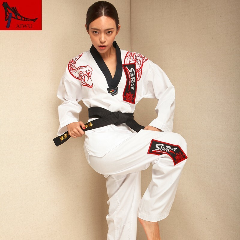 Martial Arts TKD Tae Kwon Do Korea V-neck  Taekwondo Dobok For Poomsae & Training,WTF Uniform,160-190cm,black And White