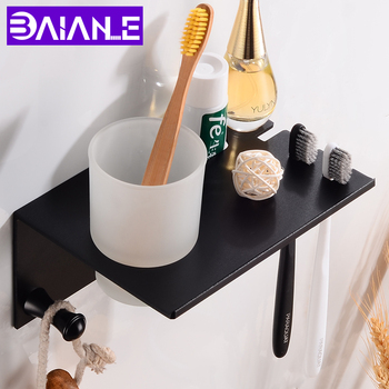 Black Toothbrush Holder Cup Space Aluminum Bathroom Accessories Toothbrush Holder Set Wall Mounted Bathroom Shelf Storage Rack 2016 top fashion real shelves for bathroom toothbrush holder stainless steel bathroom shelf wall mounted storage rack 50cm kf175