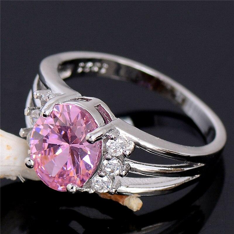 QCOOLJLY טרנדי סיטונאי ורוד מפתה 1 pc כסף צבע CZ הכי חדש תכשיטי מתנה לאישה של טבעת גודל 6 7 8 9 10