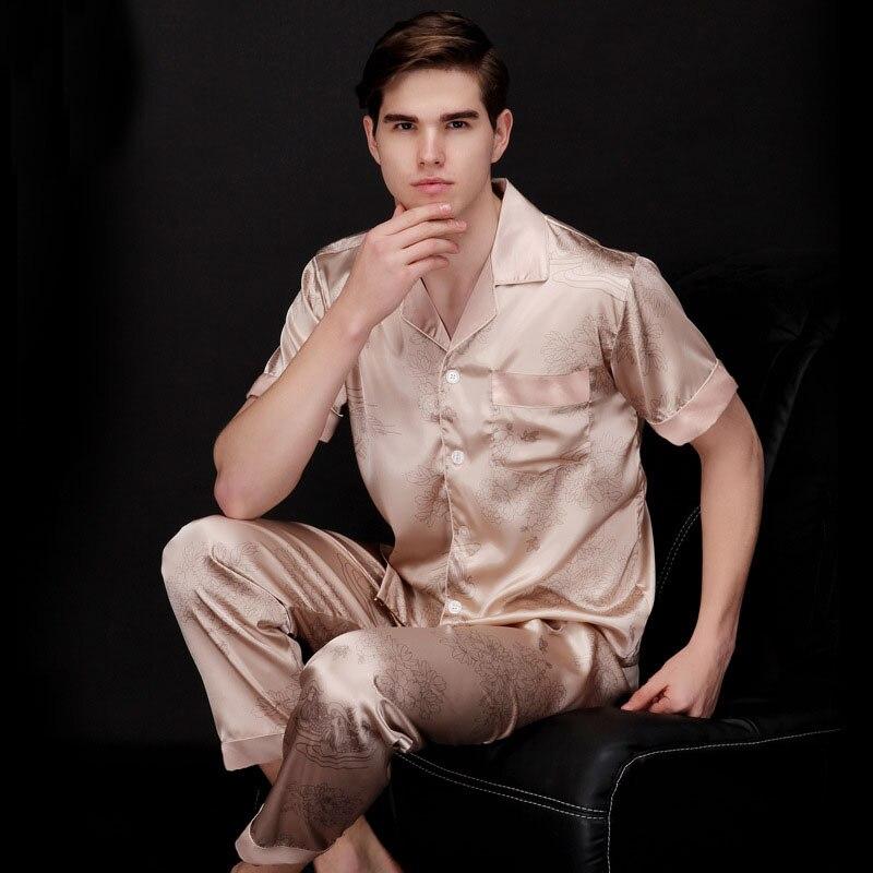 2017 Brand-clothing Summer Spring Pijamas Sets Two Piece Mens Silk Satin Pajamas Hot Selling tz037