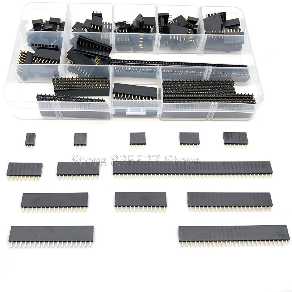 150pcs/sets 2.54mm single row pin socket Female Header connector 2/3/4/5/6/7/8/10/12/15/18/20/25/40pin PCB board combination Kit image