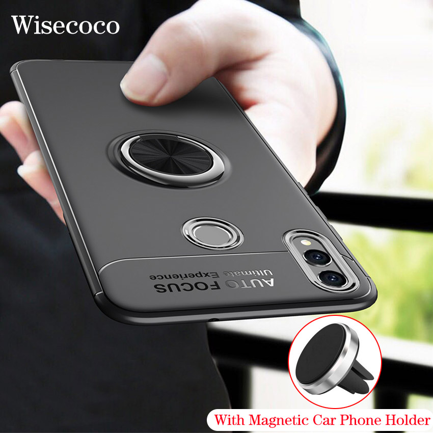 Shockproof <font><b>Honor</b></font> <font><b>8x</b></font> Silicone Case Cover for Huawei <font><b>Honor</b></font> <font><b>8x</b></font> Ring Car Magnetic Holder Mount Stand Funda for Huwai Honor8x Coque image