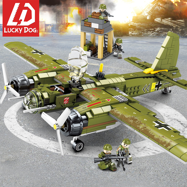 Military Bombing Airplane Building Blocks Compatible LegoNGly Helicopter Army Vehicle Toys for Children Boy Ww2