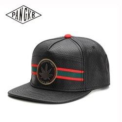 PANGKB Brand SMOKE GOOD CAP black leather Hip-Hop snapback hat for men women adult outdoor casual adjustable sun baseball cap