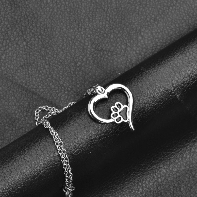 Hollow Pet Paw Prints Necklaces Cute Animal Dog cat Memorial jewelry Pet Lover Puppy Paw Heart Charm Black Enamel Necklace Girls 2