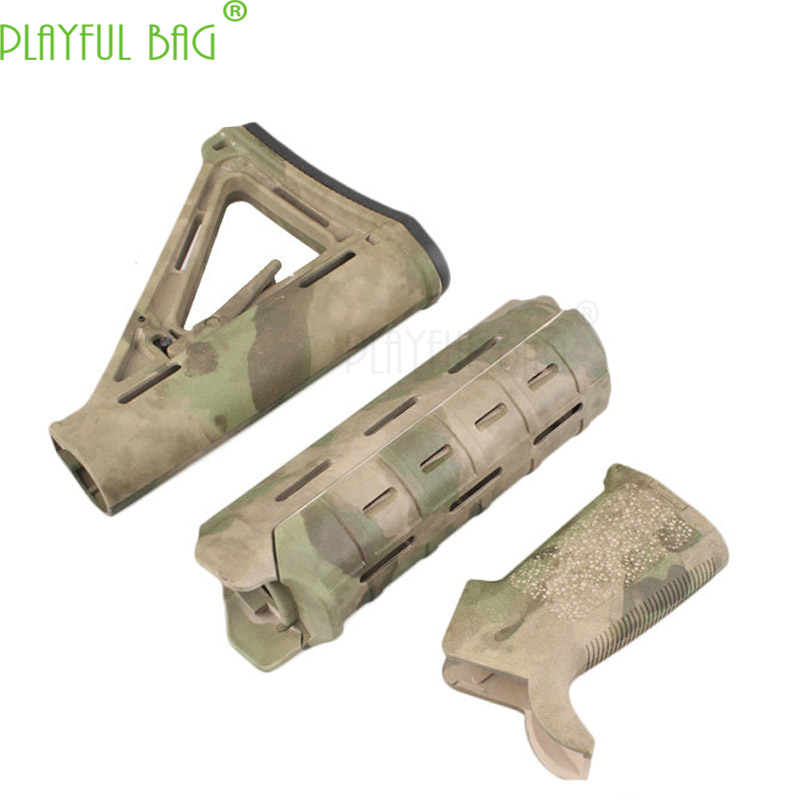 Outdoors Camouflage MOE Nylon Protection Wood Fish Bone CTR Handgrip Suit Tactical Gift Jinming HaoWei M4 Water Bullet Gun KI54