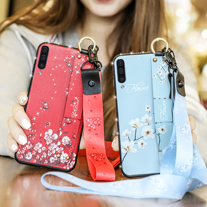 Wrist Strap Soft TPU <font><b>Case</b></font> For <font><b>Samsung</b></font> <font><b>Galaxy</b></font> A10 A20 A30 A50 <font><b>A70</b></font> <font><b>Cases</b></font> For <font><b>Samsung</b></font> M10 M20 M30 <font><b>Flower</b></font> Pattern Phone Holder <font><b>Case</b></font> image