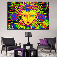 1 Pcs Psychedelic Mandala Abstract HD Printed Canvas Painting For Living Room Home Decor Wall Art Framework Quadri Da Parete
