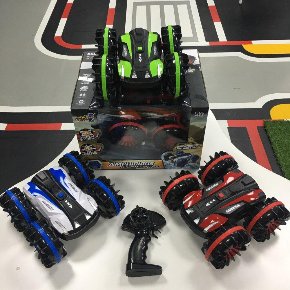360 Поворот Rc автомобили дистанционное управление Управление Stunt автомобилей 2 кристалла по бокам Водонепроницаемый вождения на воде и земле амфибия электрические игрушки для детей 5